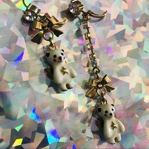Betsey Johnson crystal rhinestone bear earrings
